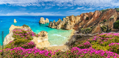 Wall mural Landscape with Praia do Camilo, famous beach in Algarve, Portugal