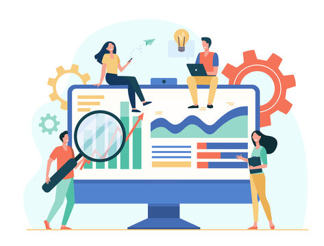 Tiny analysts working with data on dashboard isolated flat vector illustration. Cartoon office workers studying research strategy. Data analysis and marketing concept