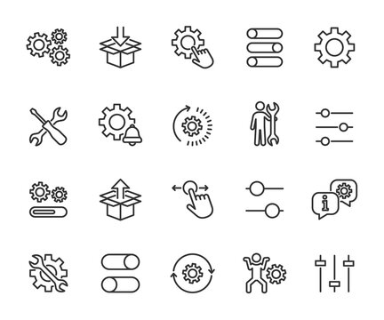 Vector set of setup line icons. Contains icons settings, installation, maintenance, update, download, configuration, options, restore settings and more. Pixel perfect.