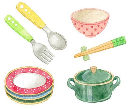 イラスト素材:食器のセット