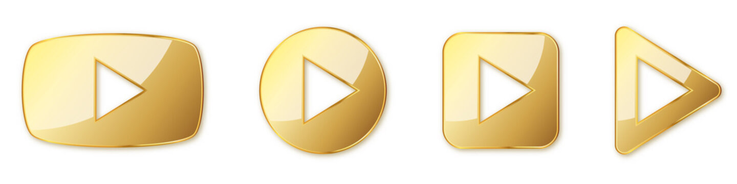Set of gold play buttons. Play icons isolated. Vector illustration