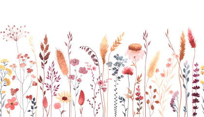Fototapeta Watercolor floral seamless pattern with colorful wildflowers, plants and grass. Panoramic horizontal border, isolated illustration. Meadow in vintage style.
