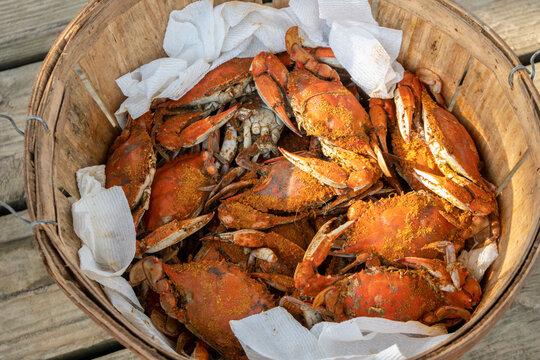 Basket of steamed crabs