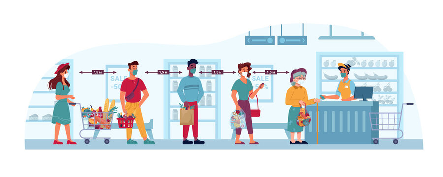 Store and people in masks, social distance queue in grocery supermarket, shop, vector flat cartoon Coronavirus covid19 social distance in store, crowd line standing to cashier, public security