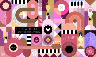 Wine and music graphic illustration. Abstract art composition of wine bottles, guitar, piano and geometric shapes.