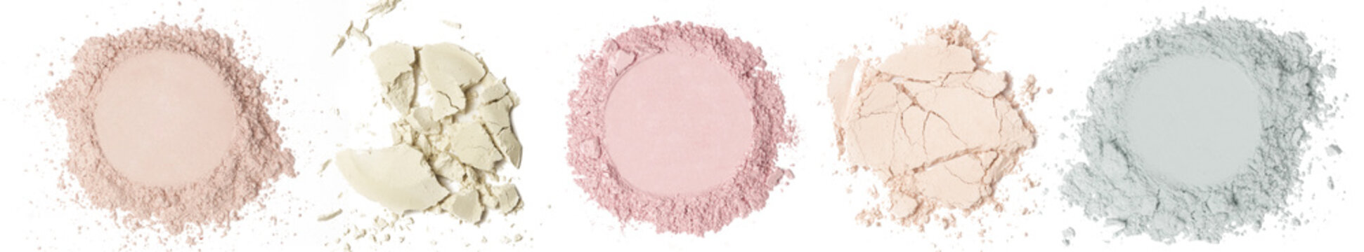Set of cosmetic or make up powder samples isolated on white.