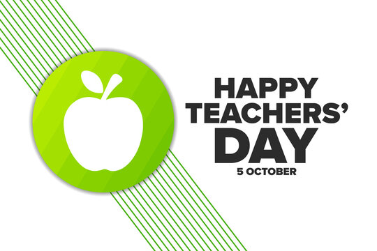 World Teachers' Day. 5 October. Holiday concept. Template for background, banner, card, poster with text inscription. Vector EPS10 illustration.