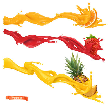 Sweet splashes. Orange, strawberry, pineapple. 3d realistic vector illustration