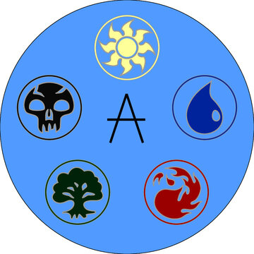 MTG Elements. Use only web colors. Symbols Magic the gathering game