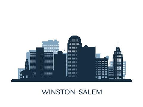 Winston–Salem skyline, monochrome silhouette. Vector illustration.