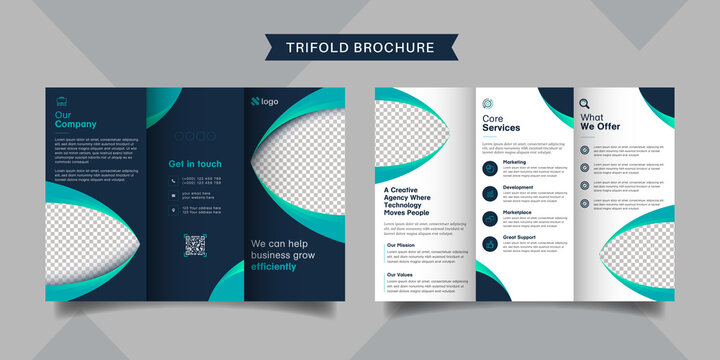 Corporate business trifold brochure template. Modern, Creative and Professional tri fold brochure vector design. Simple and minimalist promotion layout with dark blue color.