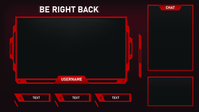 Stream Overlay Be Right Back Screen Red and Black theme with Chat Box, Minimalist Geometrical Design, Vector Illustration