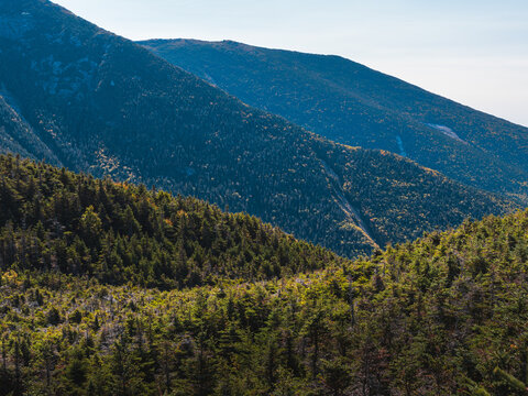 The mountain ridges leading up to Franconia Ridge in the White Mountains of New Hampshire.