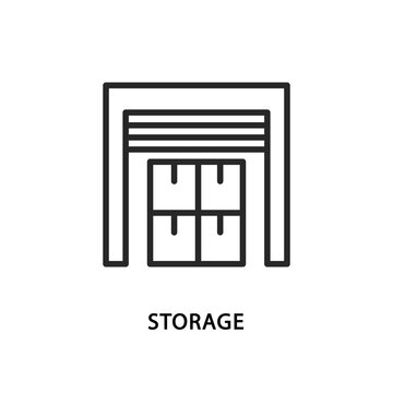 Storage line flat icon. Vector illustration warehouse