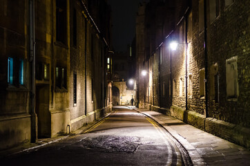 An empty Trinity Lane by night, Cambridge, United Kingdom