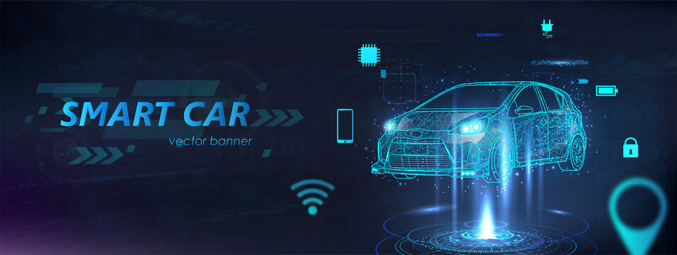 Polygonal smart auto hologram, futuristic banner electric machine with aspects in the form of icons. Autonomous car vehicle with infographic. Intelligent car banner with machine benefits. Vector
