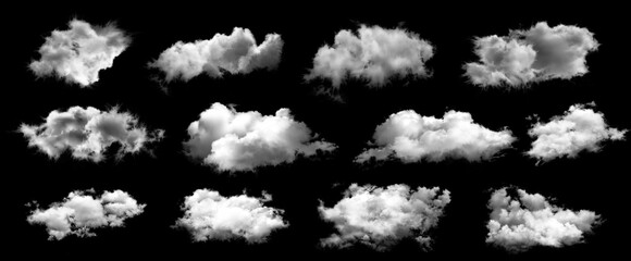 Set of white clouds isolated on black background.