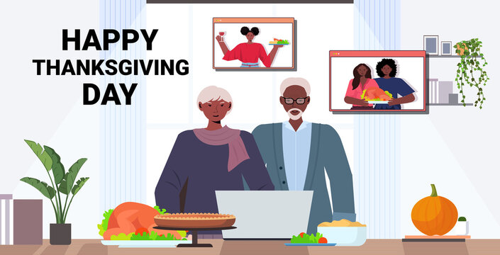 grandparents discussing with children during video call celebrating happy thanksgiving day online communication self isolation concept horizontal portrait copy space vector illustration