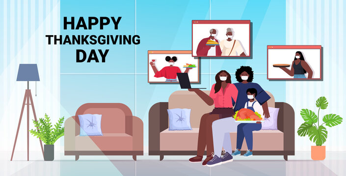 parents and child discussing with grandparents during video call family celebrating happy thanksgiving day online communication self isolation concept horizontal copy space full length vector
