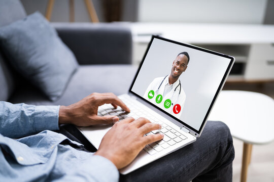 African American Video Conferencing With Doctor