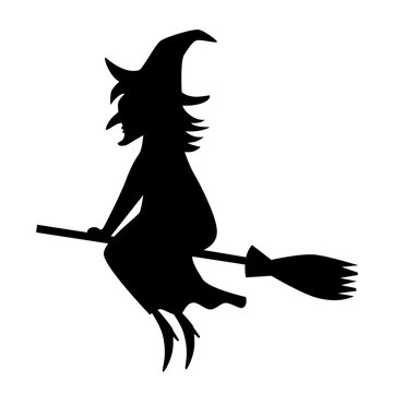 Black silhouette of witch on broomstick. Vector icon for Halloween.