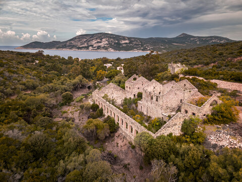 Abandoned silver mine at Argentella in Corsica