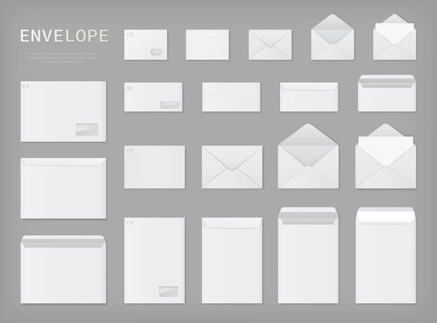 White envelopes set. Blank mockups, front and back, open and closed. Different sizes. Vector illustration.