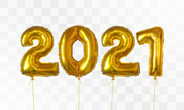Gold foil balloons number 2021