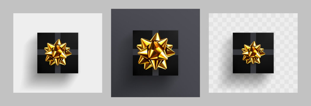 Decorative black gift box with realistic glittering golden bow. Decoration element for holiday design