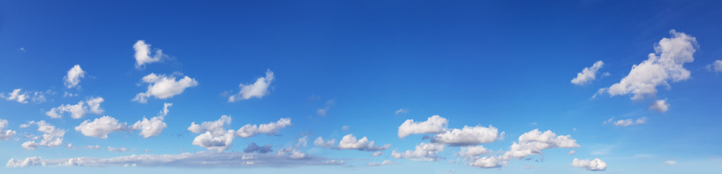 White clouds on blue sky. nature panorama background