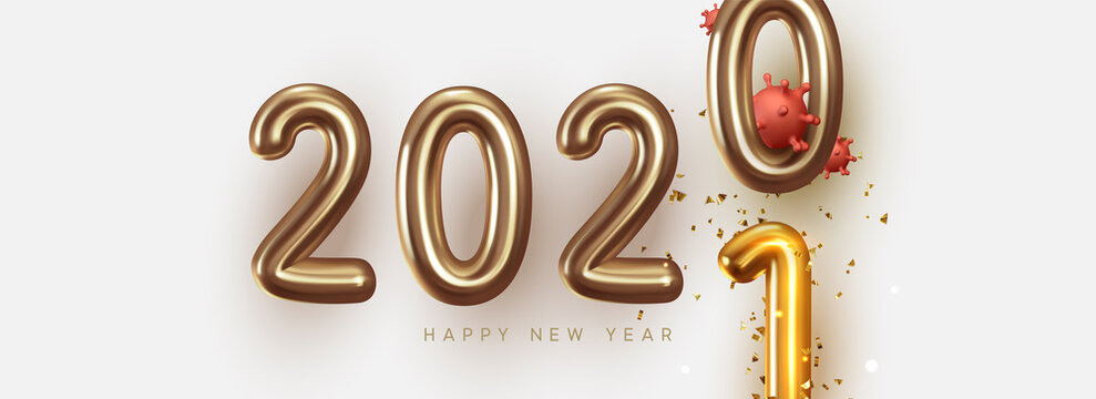 Happy New Year 2021 - 2020 with realistic bacteria corona virus, gold Text Design. Golden number 2021 is strewn with glittering confetti. Vector illustration