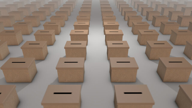 Ballot boxes - 3d illustration of infinite array stretching to the horizon, voting in an election.