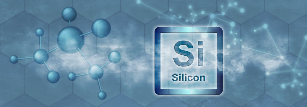 Si symbol. Silicon chemical element