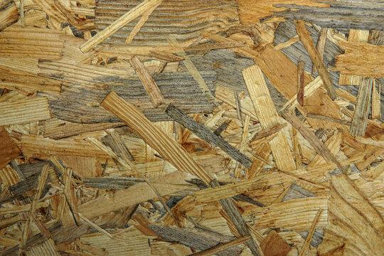OSB sheet texture, plywood, close-up.