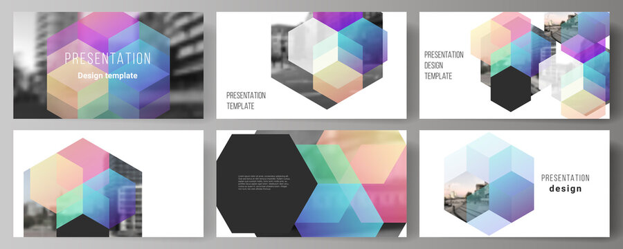 Vector layout of the presentation slides design business templates, multipurpose template with colorful hexagons, geometric shapes, tech background for presentation brochure, brochure cover, report.