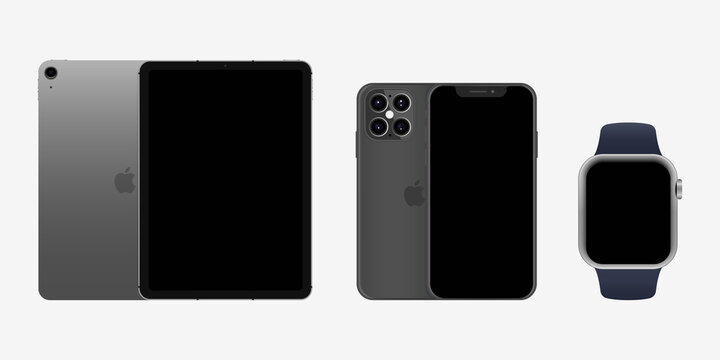 Apple iPad Air, iPhone 12, Watch SE, Series 6 2020. Collection of realistic modern devices. Touch screen. World technology. Vector illustration. Kyiv, Ukraine - September 26, 2020
