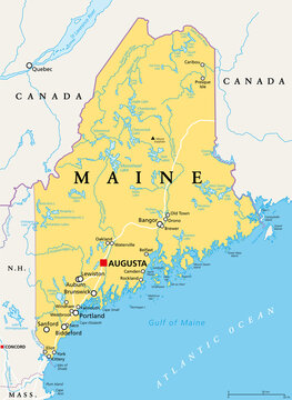 Maine, ME, political map with capital Augusta. Northernmost state in the United States of America, and located in the New England region. The Pine Tree State. Vacationland. Illustration. Vector.