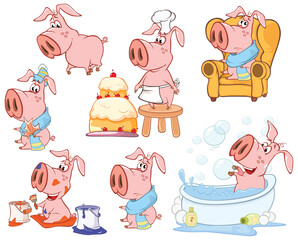 Illustration of a Cute Cartoon Character Pig for you Design and Computer Game