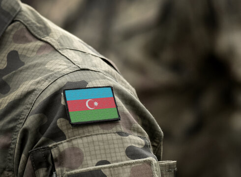 Flag of Azerbaijan on military uniform. Azerbaijani army, armed forces, soldiers. Collage.