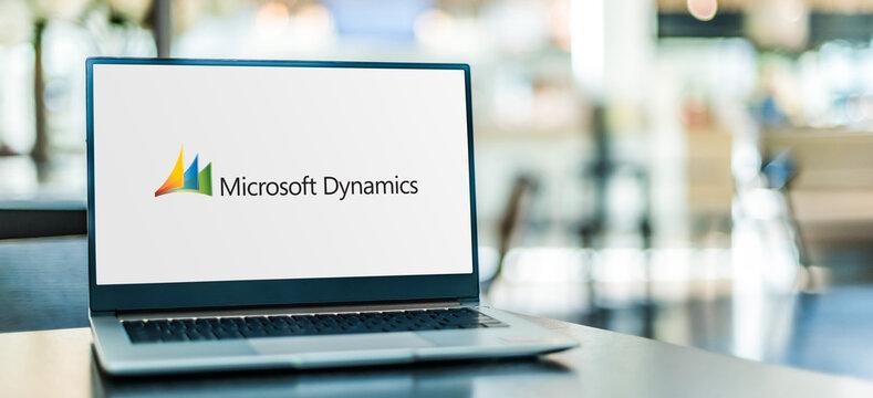 Laptop computer displaying logo of Microsoft Dynamics