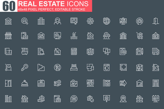 Real estate thin line icon set. Real estate agency outline pictograms for website and mobile app GUI. Building sale and rent simple UI, UX. Grid 48x48 pixel perfect linear vector icons pack.