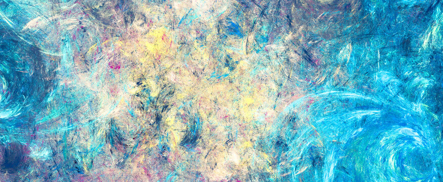 Abstract painting color texture. Blue and yellow pattern. Paint background. Fractal artwork for creative graphic design