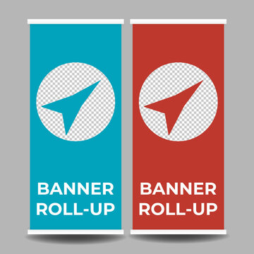 Simple company business roll up standee vertical banner design with mockup template