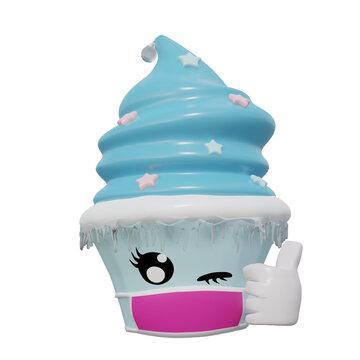 zwinkernder Cupcake als Emoticon mit Schutzmaske gegen Corona. Mit Eiszapfen für die kalte Jahreszeit.