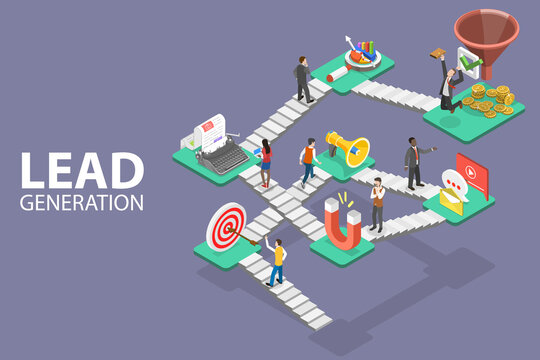Lead Generation Strategy. Marketing Process of Conversion Rate Optimization and Generating Business Leads. 3D Isometric Flat Vector Conceptual Illustration.