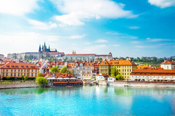 View of the Prague Castle and St. Vitus Cathedral from the Vltava River, Prague, Czech Republic.