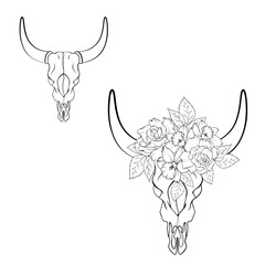 Black and white skull bull with wreath of flowers on line style. Vector illustration.