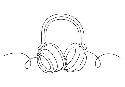 One continuous line drawing of headphones for logo. Hand drawn  sound device gadget, music gadget for listening songs and podcast. Vector illustration