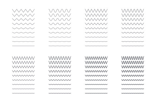 Zigzag wavy lines set. Editable stroke. Sharp and rounded seamless patterns of different thicknesses. Vector stock illustration on white background