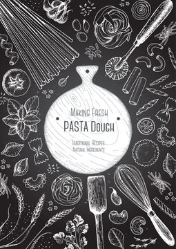 Italian pasta top view frame. Hand drawn vector illustration. Collection of pasta different types. Italian food design template. Engraved sketch style.